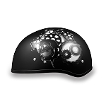 DOT Black Motorcycle Half Helmet with Gearhead
