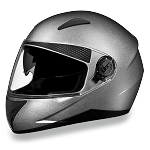 DOT Silver Dual Visor Full Face Motorcycle Helmet