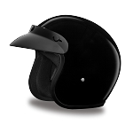 Youth DOT 3/4 Open Face Black Motorcycle Helmet