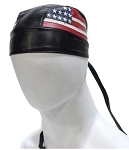 American Flag Leather Motorcycle Skull Cap