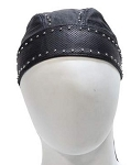 Leather Motorcycle Skull Cap with Studs