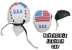 Reversible Motorcycle Skull Cap with US Flag
