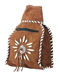 Womens Brown Leather Backpack with Bones and Beads