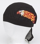 Motorcycle Skull Cap with Flaming Eagle
