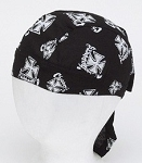 Motorcycle Skull Cap with White Chopper Cross