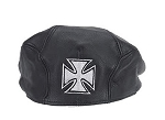 Leather Cap With Chopper Cross