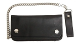 Plain Black Leather Wallet with Chain
