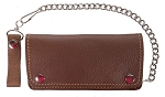 Premium Quality Brown Leather Bifold Chain Wallet