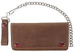 Premium Brown Leather Bifold Chain Wallet