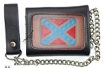 Leather Tri-Fold Chain Wallet Rebel Flag