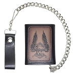 Leather Tri-Fold Chain Wallet With Skeleton