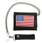 Leather Tri-Fold Chain Wallet With USA Flag