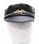 Leather Hat with Chain and Eagle