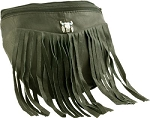 Womens Fringe Steer Skull Hip Bag Purse Combo