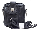 Womens Hip Bag Purse with Nickel Emblem