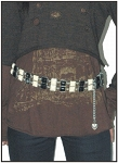 Womens Black and White Gem Chain Belt with Heart Pendant