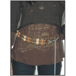 Womens Stylish Orange, Cream and Brown Chain Gem Belt
