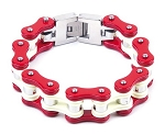 Red and White Motorcycle Chain Bracelet