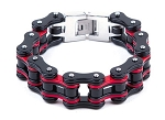 Black and Red Motorcycle Chain Bracelet