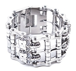 Wide Stainless Steel Chain Bracelet With Skulls