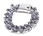 Stainless Steel Biker Bracelet With Skulls