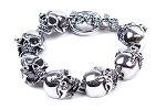 Biker Bracelet With Skulls and Cyborg Eye