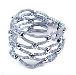 Womens Stainless Steel Mesh Bracelet With Stones & Magnetic Closure