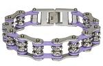 Violet Motorcycle Chain Bracelet with Gemstones