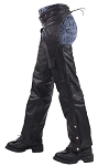 Leather Motorcycle Chaps with Braid and Insulation