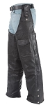 Leather Motorcycle Chaps with Belt Hook Strap