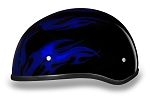 DOT Blue Flames Motorcycle Half Helmet
