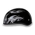 DOT Silver Flames Motorcycle Half Helmet