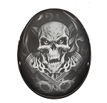DOT Motorcycle Half Helmet With Skull & Pistons