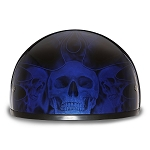 DOT Motorcycle Half Helmet With Skull Flames Blue