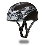 DOT Motorcycle Half Helmet With Skull Flames Silver