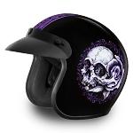 DOT 3/4 Open Face Floral Skull Motorcycle Helmet