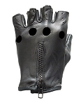Fingerless Leather Motorcycle Gloves with Zipper
