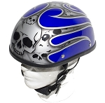 Blue Novelty Motorcycle Helmet with Silver Flames