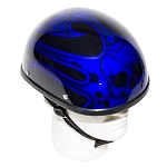 Novelty Motorcycle Helmet With Blue Flaming Skull