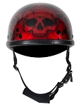 Novelty Motorcycle Helmet With Burgundy Flaming Skull