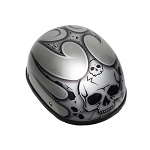 Silver Motorcycle Novelty Helmet With Burning Skull