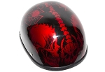 Burgundy Motorcycle Novelty Helmet Horned Skeletons