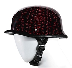 Burgundy Skull Graveyard German Novelty Motorcycle Helmet