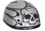 Matte Silver Motorcycle Novelty Helmet Burning Skull