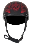 Novelty Motorcycle Helmet With Burgundy Horned Skeletons