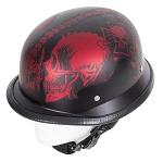 Matte Burgundy Novelty Helmet Horned Skeletons