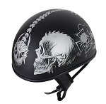 Flat Black DOT Helmet Grey Horned Skeletons