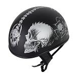 Flat Black DOT Helmet Grey Horned Skeletons