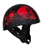 Flat Black DOT Helmet Red Horned Skeletons