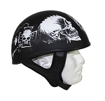 Flat Black DOT Helmet White Horned Skeletons